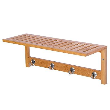 Amazon Com Homcom 20 Bamboo Wood Entryway Coat Rack Wall Shelf