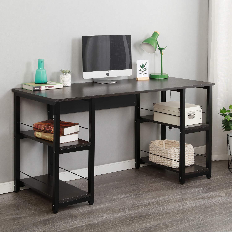 Soges Home Office Desk 55 inches Computer Desk, Morden Style Desk with Shelves Worksation Desk, Black DZ012-140-H by soges