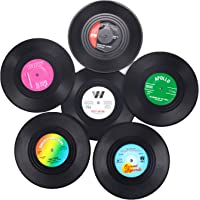 Vinyl Coasters for Drinks with Gift Box -6 Pack,Colorful Retro Vinyl Record Disk Coasters,Novelty Gifts for Music Lovers…