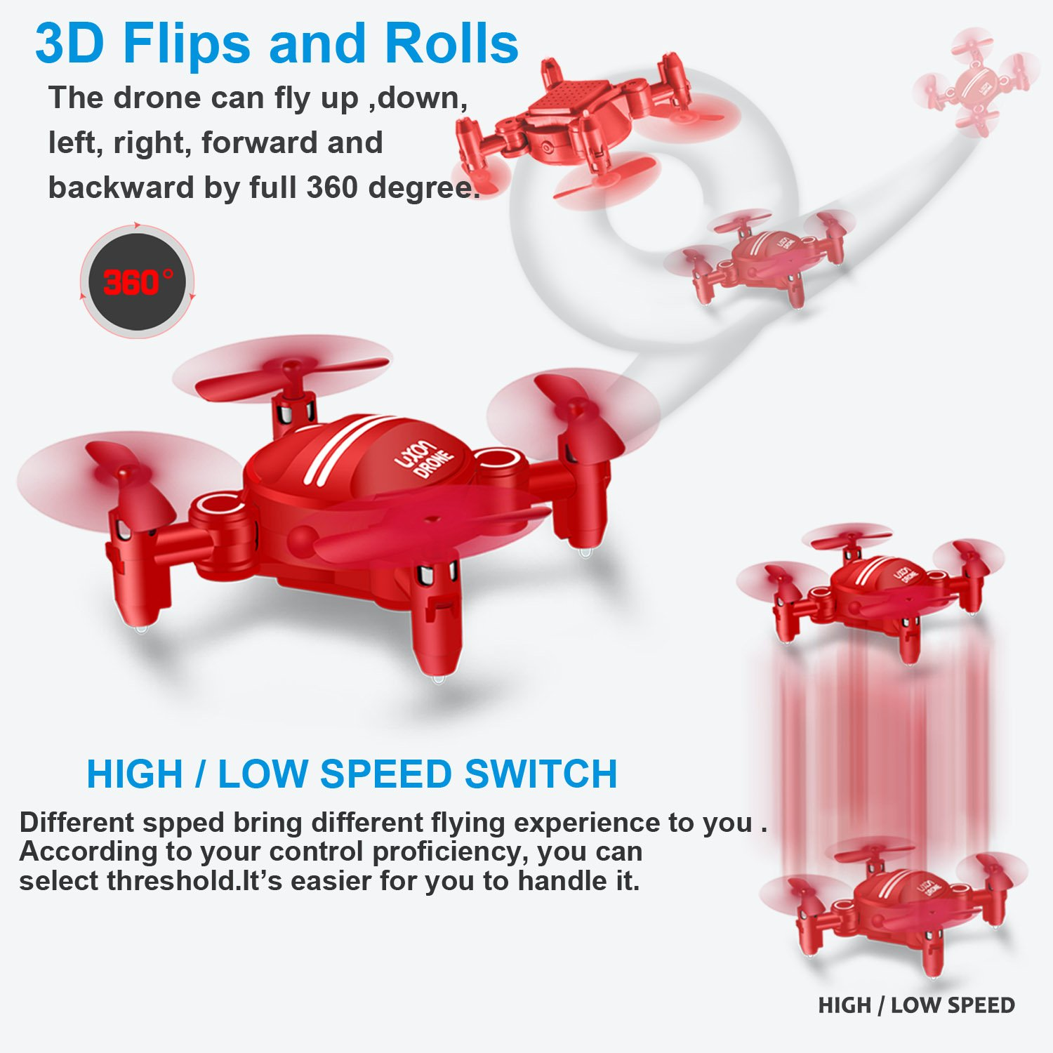 Drone for Kids Headless Mini RC Quadcopters Foldable Remote Control Helicopter Drones 2.4Ghz 6-Axis Gyro 4 Channels Indoor Flying Airplane With 3D Flip One Key Return for Beginner Drone Training (Red) ZH Electrinic Co. Ltd
