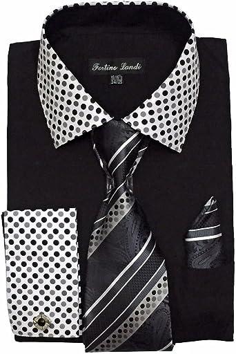 FORTINO LANDI para Hombre puño francés Vestido Camiseta W/Lunares Contrast Cuello y Corbata pañuelo
