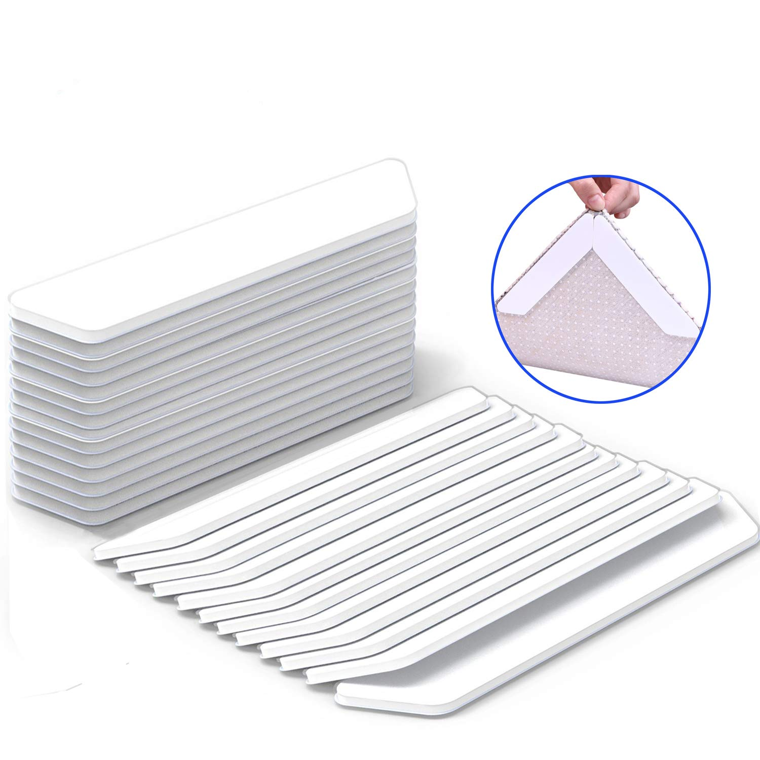 Antallcky Rug Grippers,24pcs Anti Curling and Non Slip Rug Carpet Gripper,Strong Stickiness without Hurting Floor, Stop Slipping, Reusable for Various Floors and Rug Pads-Set of 24,White