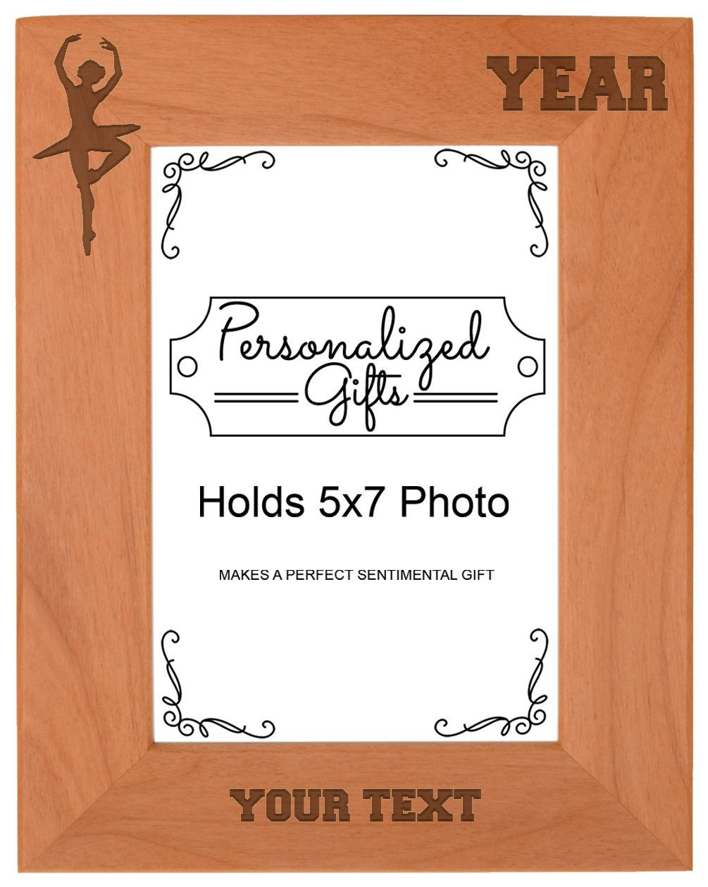 Custom Dance Gift Add Text Year Personalized Natural Wood Engraved 5x7 Portrait Picture Frame