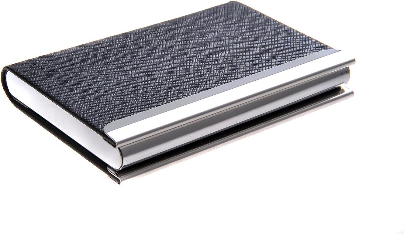 Quantum Abacus Tarjetero / Estuche para tarjetas de visita, de acero inoxidable y cuero PU, con cierre magnético, elegancia clásica de todos los tiempos, Mod. 701-01 (DE): Amazon.es: Oficina y papelería