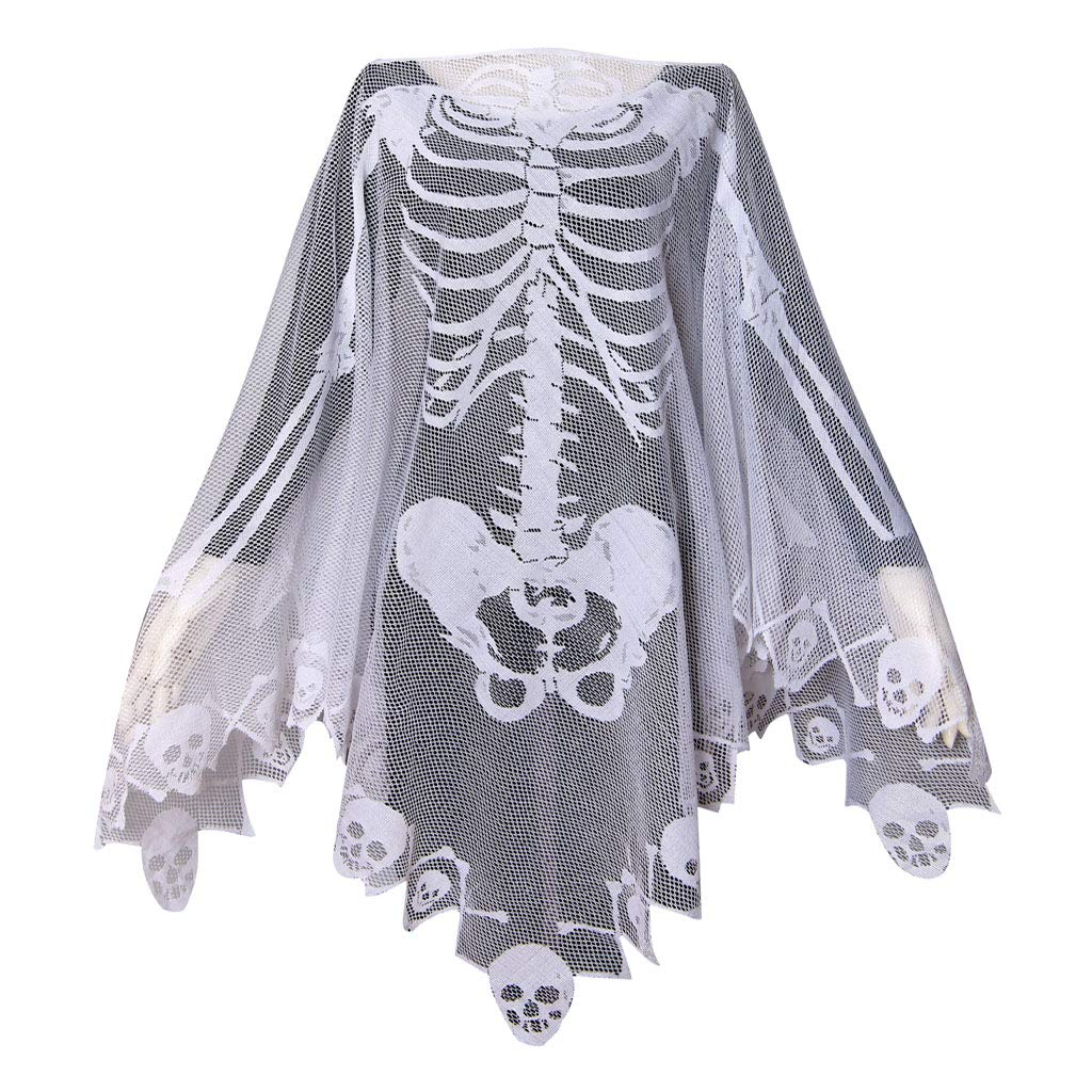 GRACIN Skeleton Lace Poncho Skull Bones Halloween Costume Cape White) G50349