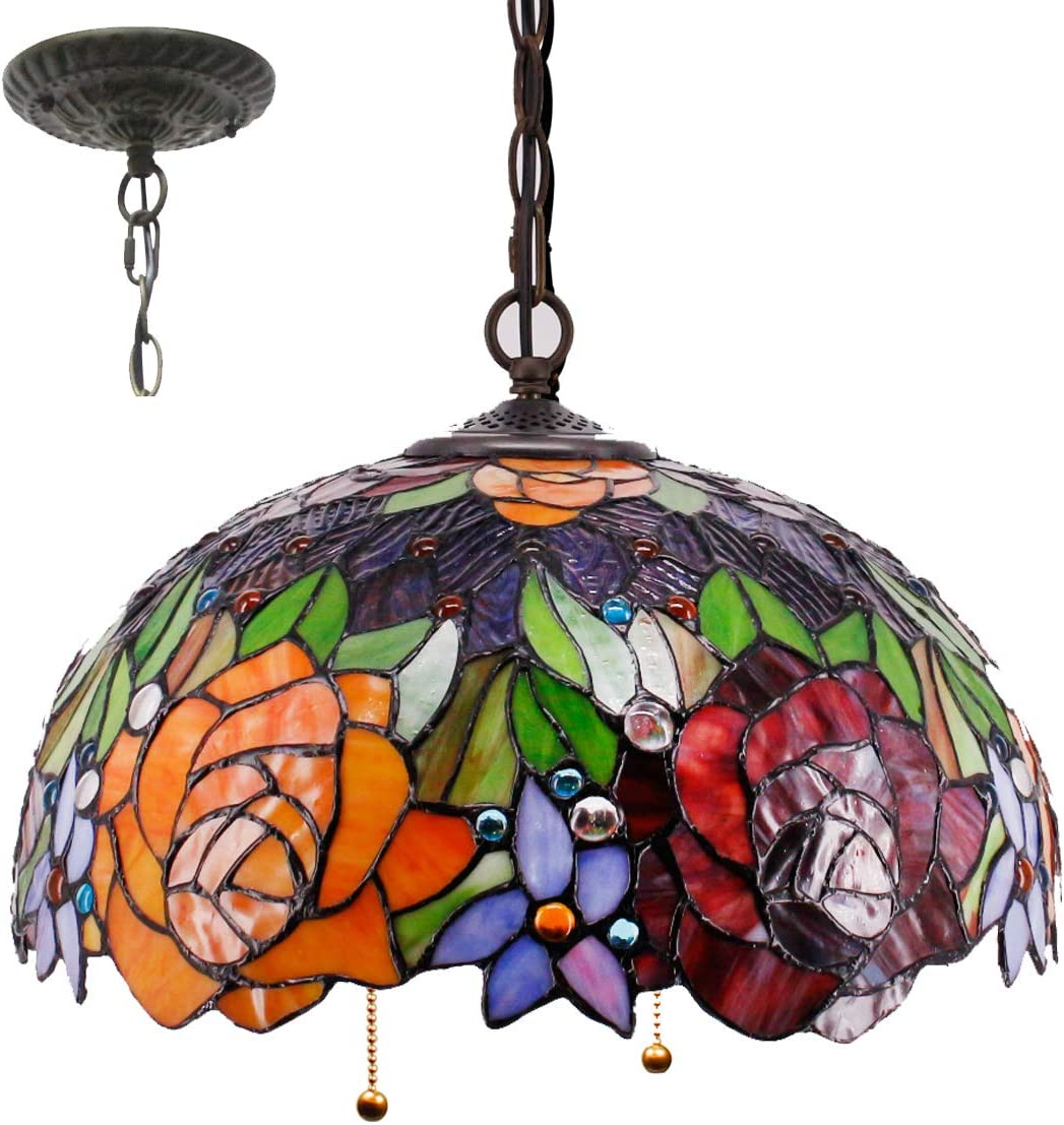 Tiffany Hanging Lamp 16 Inch Pull Chain Stained Glass Red Rose Lampshade Anqitue Chandelier Ceiling Style Pendant 2 Light Fixture Decorate Dinner Room Living Room Bedroom S001 WERFACTORY