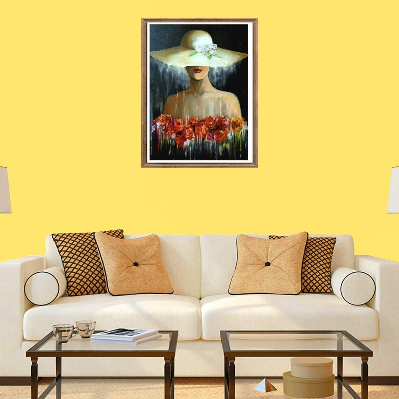 Rose Pittura Astratta Pittura Diamante Punto Croce Strass Arte E Creazione Di Mosaico Decorazione Murale Artigianale 30x40 cm Bimkole 5d Diamond Painting Kit Completo Fai da Te Cappello Di Bellezza