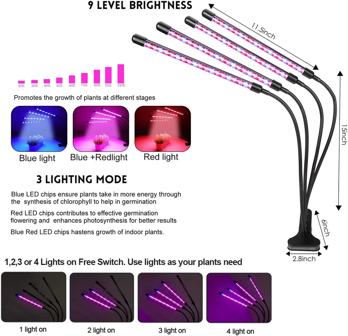Roleadro Grow Lights for Indoor Plants, 80W 2nd Generation Red Blue 3500k Full Spectrum Plant Lights with Auto ON Off 3 9 12H Timer, Adjustable Gooseneck, 3 Switch Modes