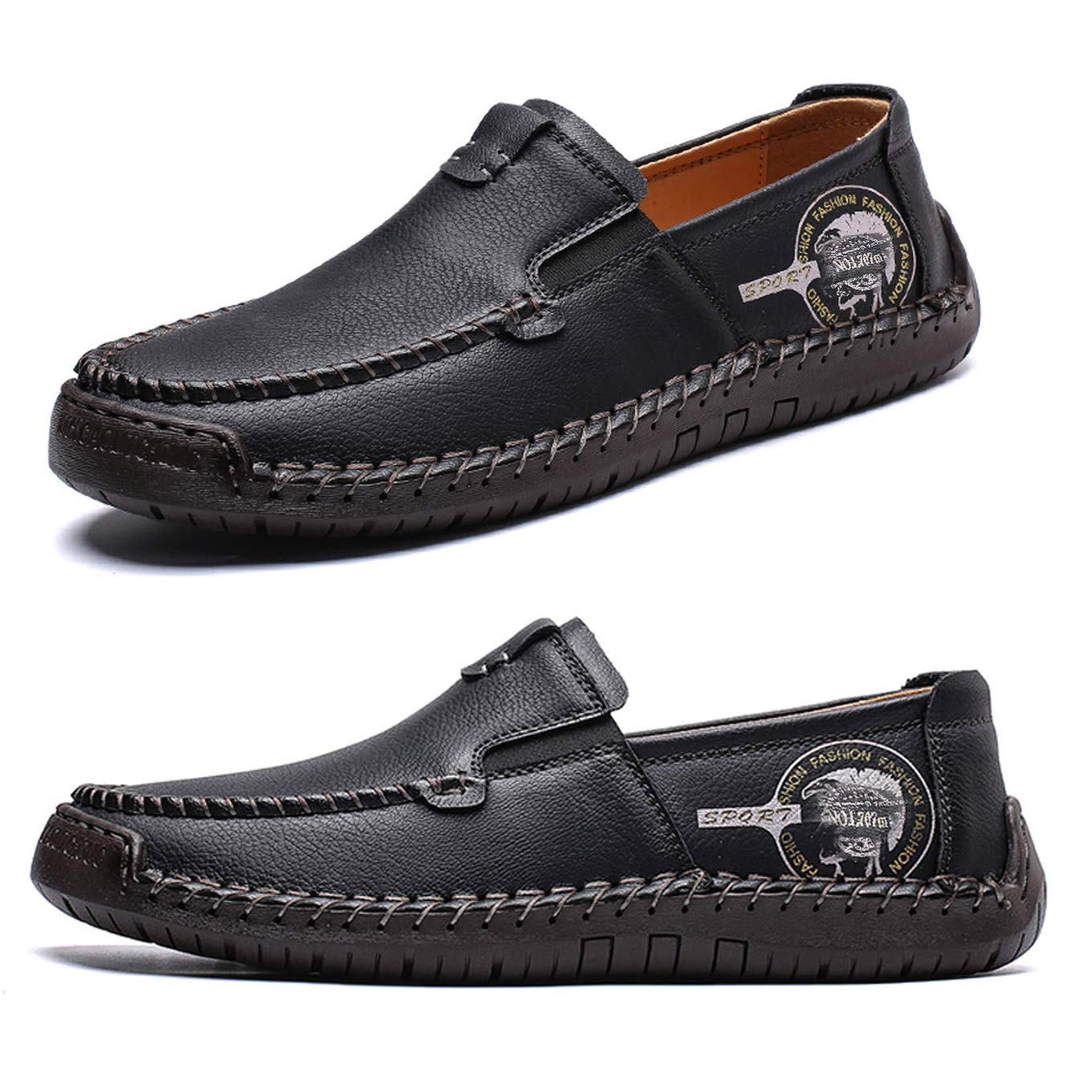 Fashion Men/'s Leather Casual Zipper Shoes Breathable Antiskid Loafers Moccasins