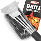 "Grill Brush and Scraper - GRILLART Best BBQ Brush for Grill, Safe 18"" Stainless Steel Woven Wire 3 in 1 Bristles Grill Cleaning Brush for Weber Gas/Charcoal Grill, Gifts for Grill Wizard - NEW ARRIVAL"