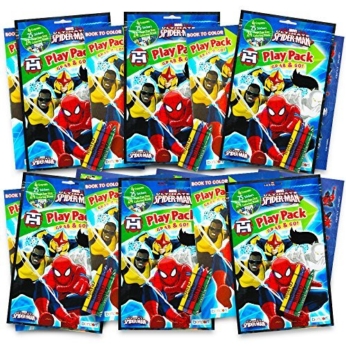 (Marvel Spiderman Ultimate Party Favors Packs -- 6 Sets with Stickers, Coloring Books and Crayons (Spider-Man Party)