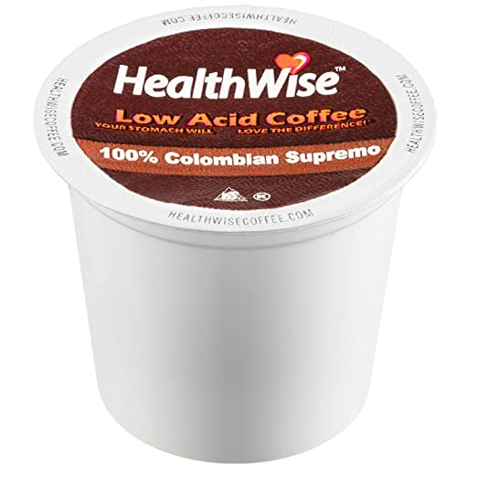 HealthWise Low Acid Coffee for Keurig K-Cup Brewers, 100% Colombian Supremo