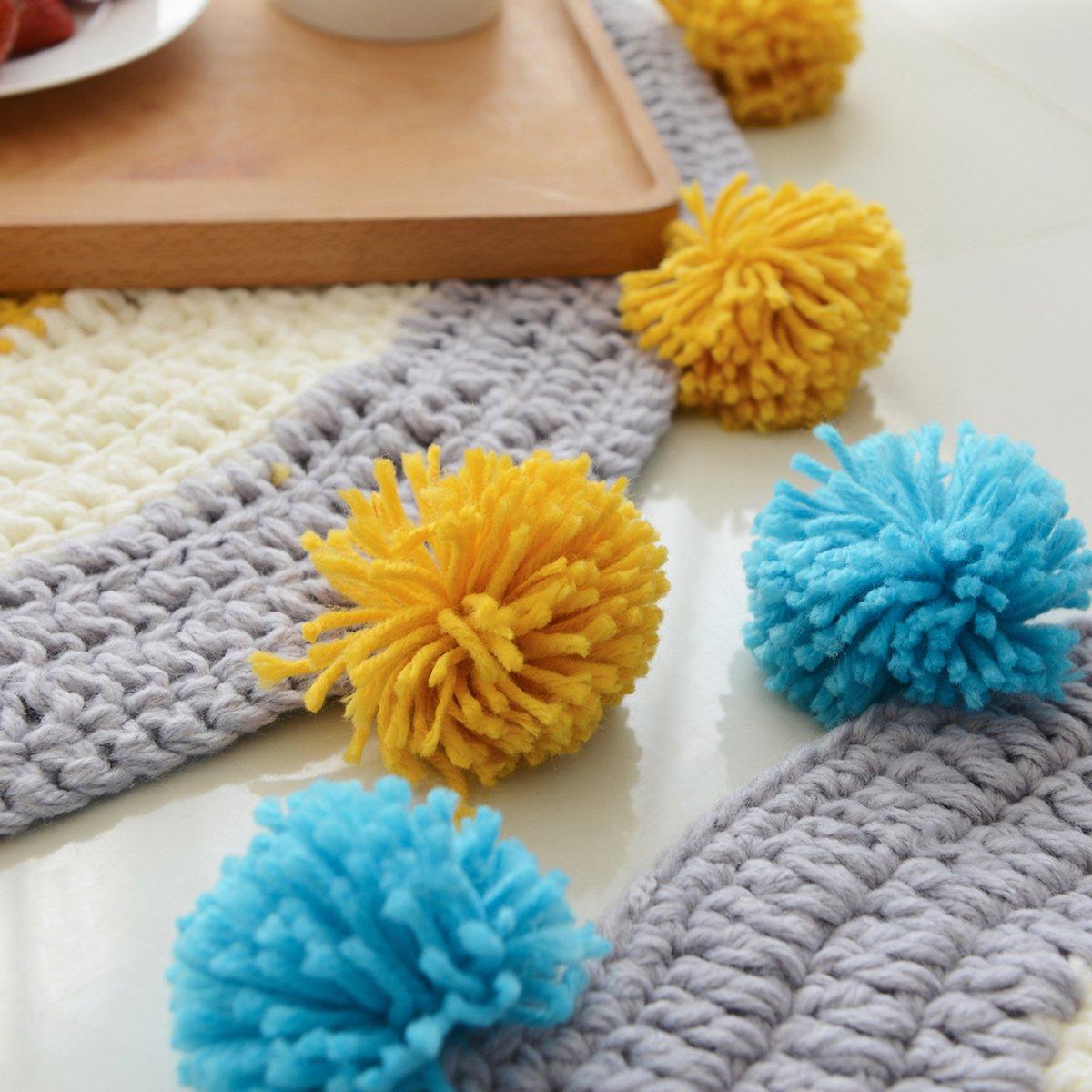 MYLUNE HOME Modern Round Knit Area Rug Carpet Mats Blanket for Bedroom Living Room Sofa Table Carpet (blue)