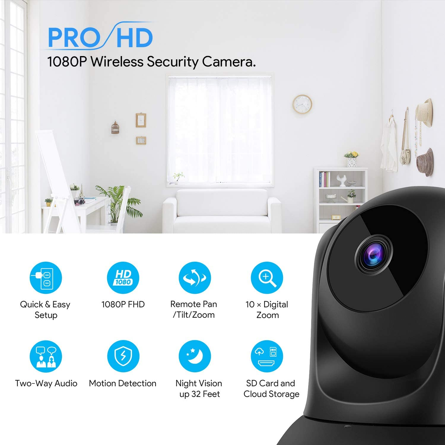 Bagotte Full HD 1080P WiFi Home Security Camera, Wireless IP Indoor Surveillance System Pan Tilt Zoom Audio Camera, Night Vision, Motion Detection, Remote Baby Monitor iOS – Cloud Storage