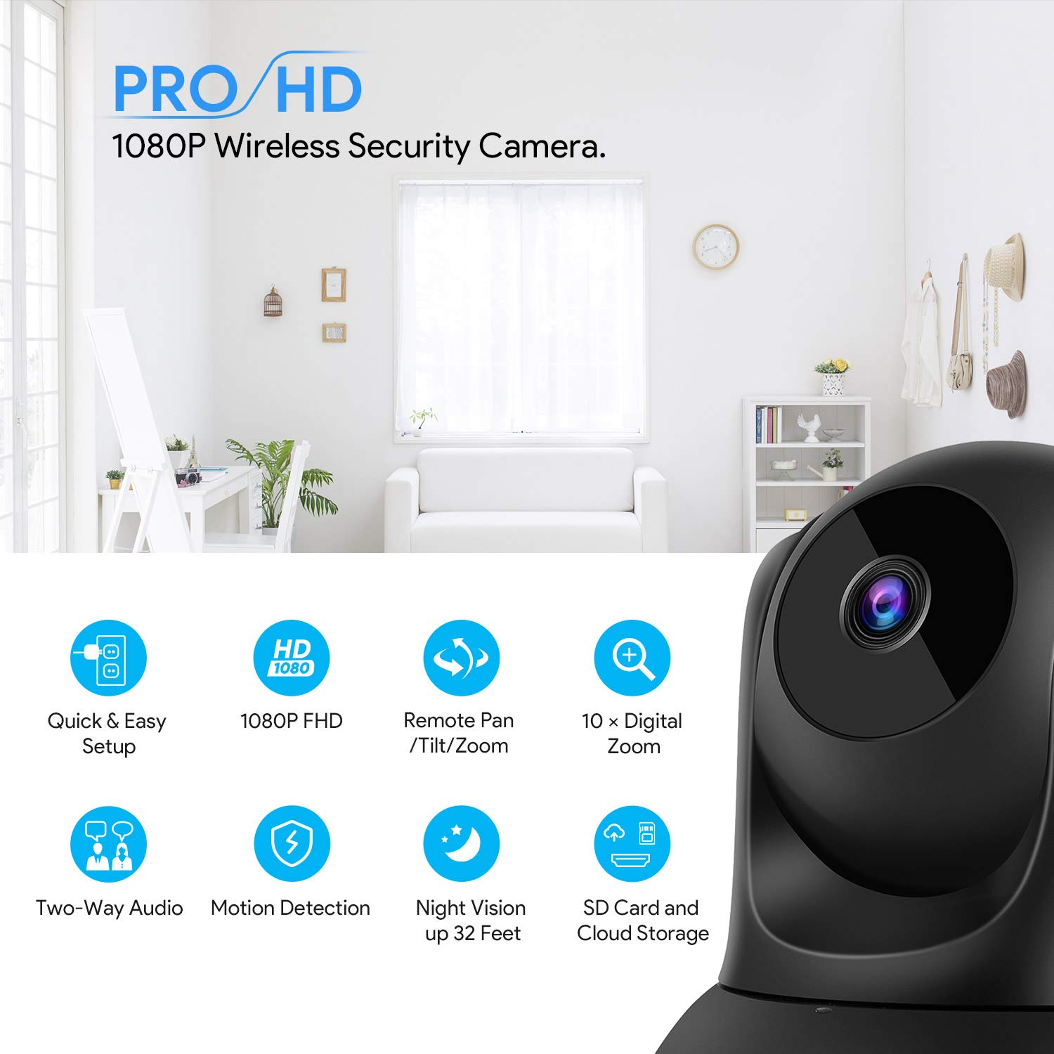 Pet Camera,Conico 1080P HD Wireless IP Camera with Sound and Motion Detection Two-Way Audio,Pan Tilt Zoom WiFi Dome Camera,Home Security Baby Monitor with Night Vision Work with Alexa