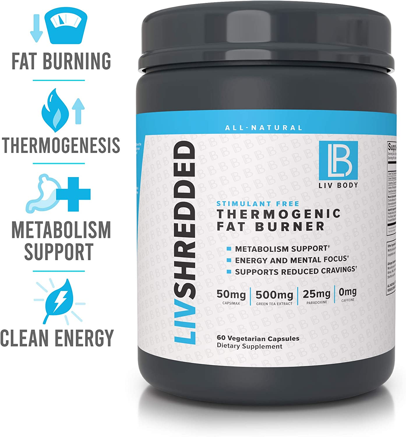 LIV Body LIV Shredded Stimulant Free Thermogenic Fat Burner Metabolism Support, Reduces Cravings Energy and Mental Focus 60 Vegetarian Capsules