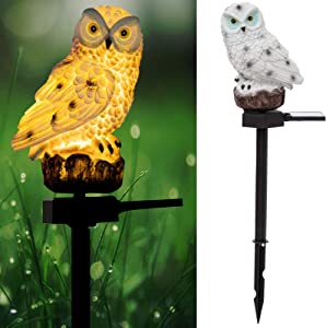 White Owl Outdoor Solar Lights NBLJF Garden Decorative Resin Animal Sculpture for Lawn-Yard-Patio-Pathway Multi-Purpose Figurine Lights & Garden Decor