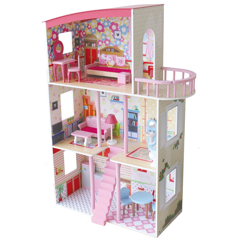 3 Storey Wooden Dolls House - Pink