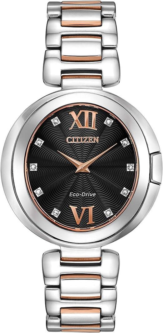 Citizen Eco-Drive Capella Quartz Womens Watch, Stainless Steel, Diamond, Two-Tone (Model: EX1516-52E)