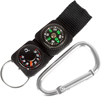 3 in 1 Multifunction Camping Hiking Carabiners w// Keychains Compass Thermometer~