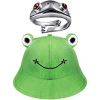 LEAMEERY Frog Bucket Hat for Women, Cute Green Frog Hat with Vintage Frog Open Ring, Summer Cotton Bucket Sunhat for…