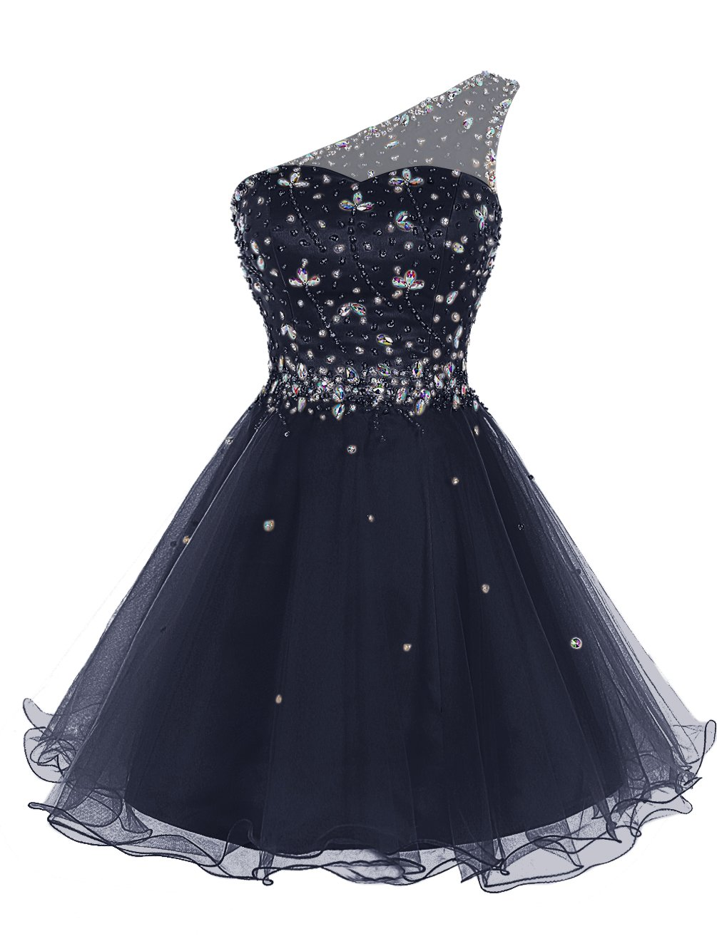 a07fed12213 Bbonlinedress Women s Short Tulle Homecoming Dress One-Shoulder Beaded  Cocktail Prom Party Dress Dark Navy 12