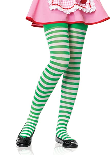 44ce5f386c34d Girl Striped Tights Green And White: Amazon.co.uk: Clothing