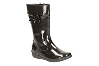 bcad125eb Image Unavailable. Image not available for. Colour: Clarks 2018-46F TING  Chic INF Black Patent Kids Boots