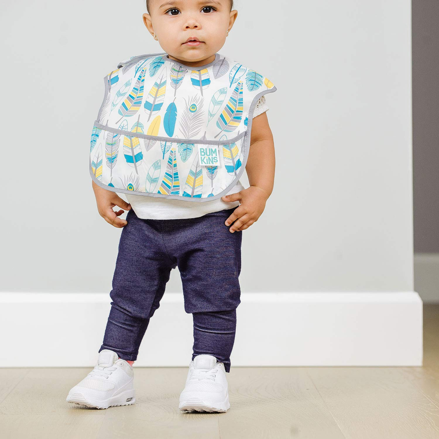 Feathers Baby Bib Stain and Odor Resistant 6-24 Months Quill Washable Waterproof Arrows Bumkins SuperBib 3-Pack