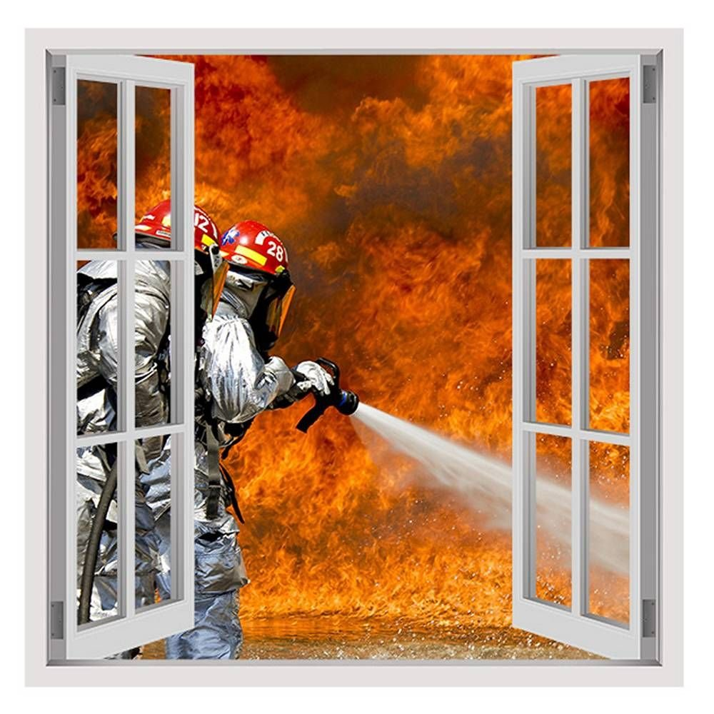 Alonline Art Fire Fighters Flames Fake 3D Window FRAMED STRETCHED CANVAS (100% Cotton) Gallery Wrapped - READY TO HANG | 30''x30'' - 76x76cm | For Home Decor Giclee Oil Painting Print Frame