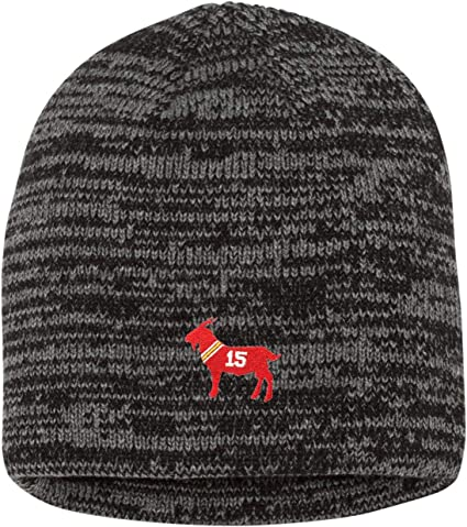 Go All Out Adult Mahomes Outline Embroidered Knit Beanie Pom Cap