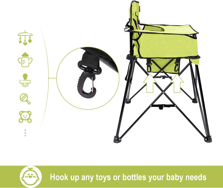 Trona plegable con bandeja para beb/és Silla alta para comer con estuche Azul VEEYOO Silla alta port/átil para beb/és