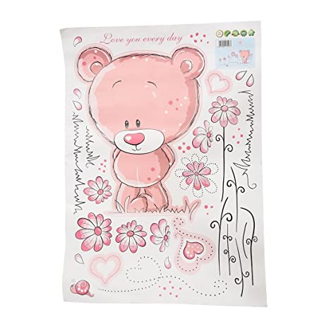 Amazon Com Toogoo R Pink Bear Wallpaper For Bedroom Wall Sticker