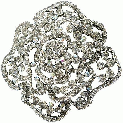 Vintage Rhinestone Brooch Crystal Flower Lapel Pin Wedding Bridal Accessories