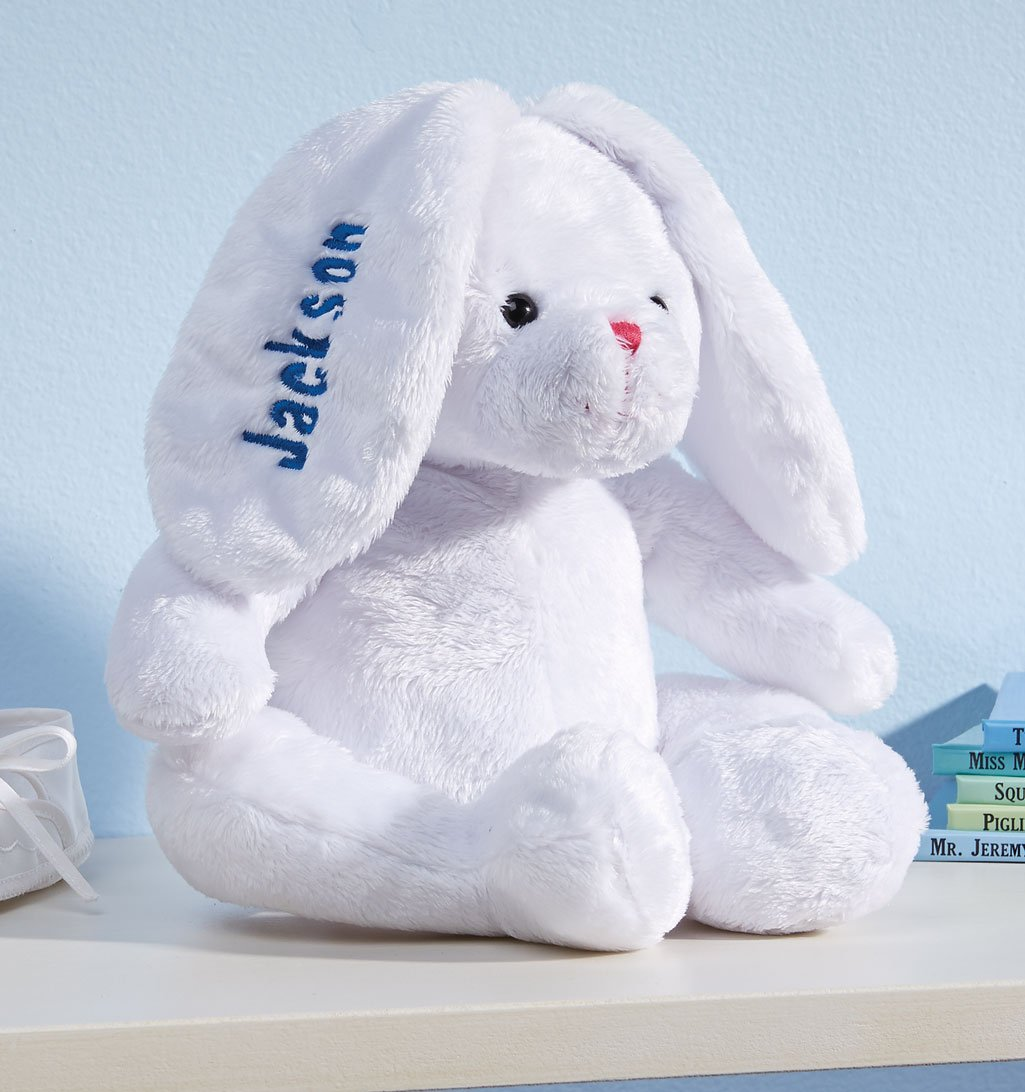 Personalized White Plush Bunny -Customized Stuffed Animal Children Easter Gift - Embroidered Floppy Ear Bunny with Child Name in Blue Font by Miles Kimball