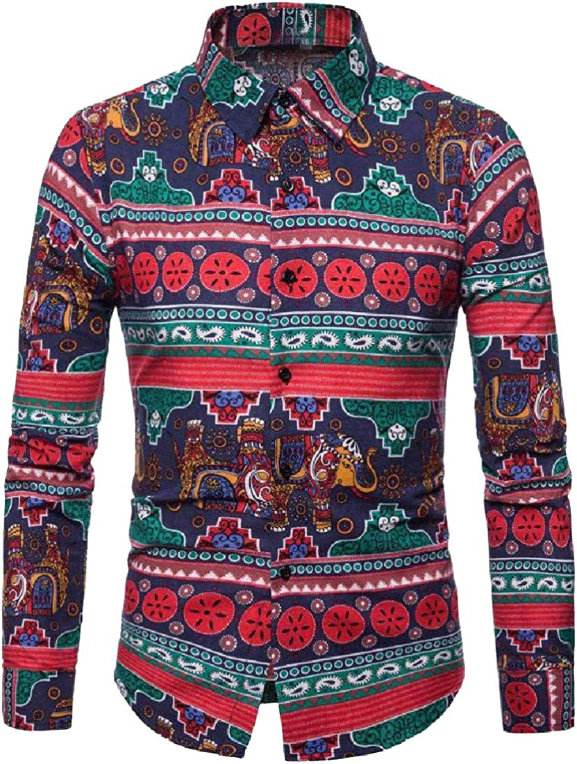 Coolred-Men Classic Fit Ethnic Style Point Collar Casual Shirts