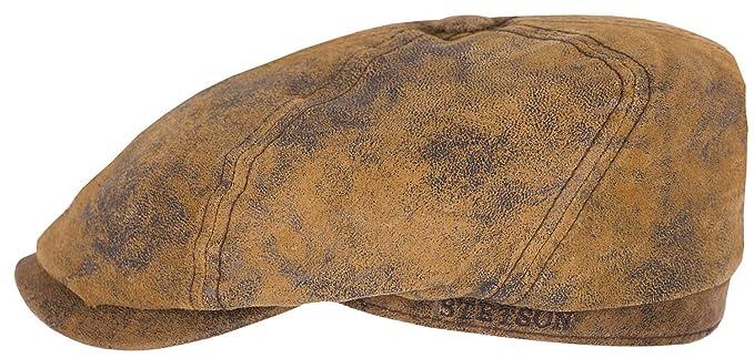 9f4185f64d3f7 Stetson Lanesboro Distressed Leather Newsboy Cap at Amazon Men s ...