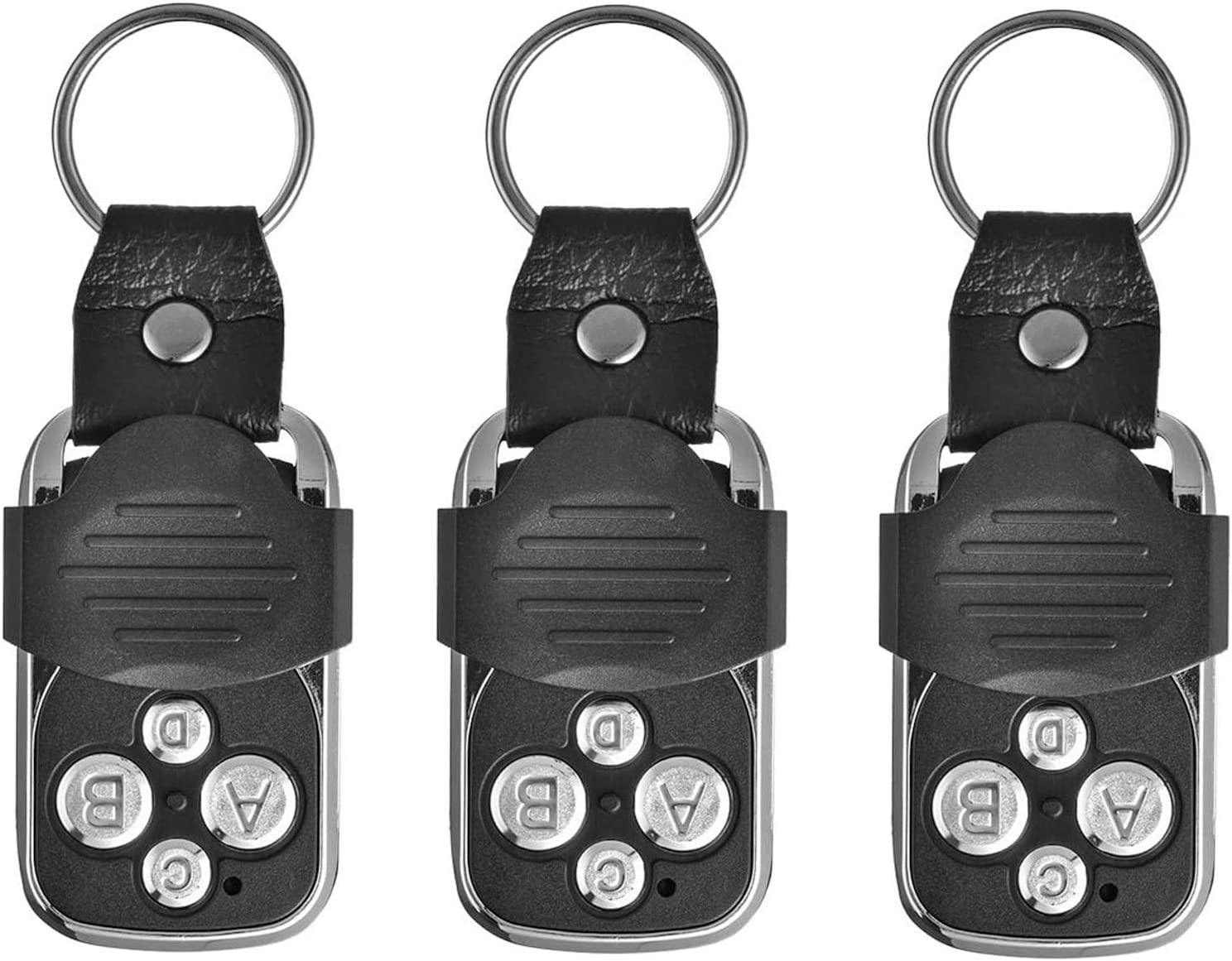 EasyULT 3 Piezas Mando a Distancia para Garaje, 270-433.92MHZ, Universales Puerta Automática a Código Fijo con 4 Canales Diferentes e Panel Corredizo-Negro