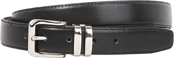 1 1//8 Mens Polished Silver Rounded Rectangular Buckle on Quality Leather Strap