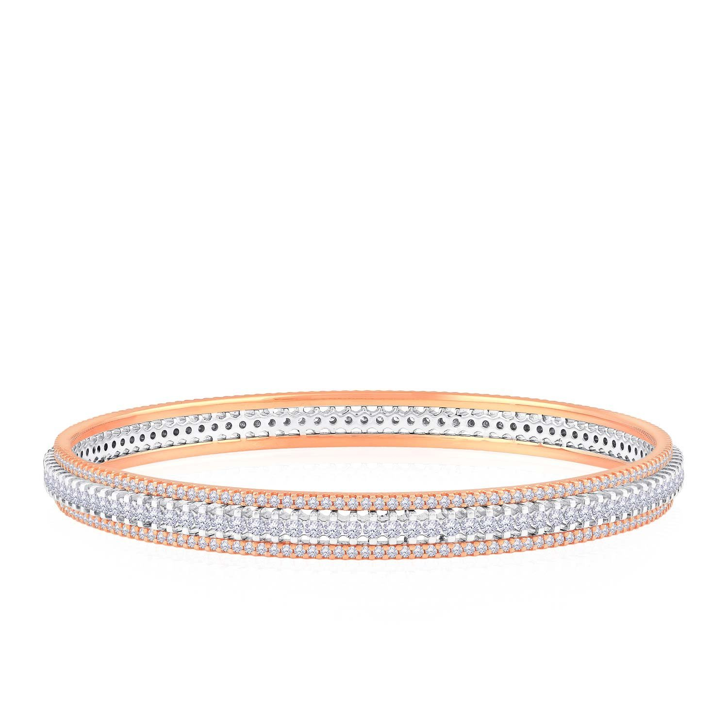 Malabar Gold and Diamonds 18KT Rose Gold and Diamond Bangle for Women