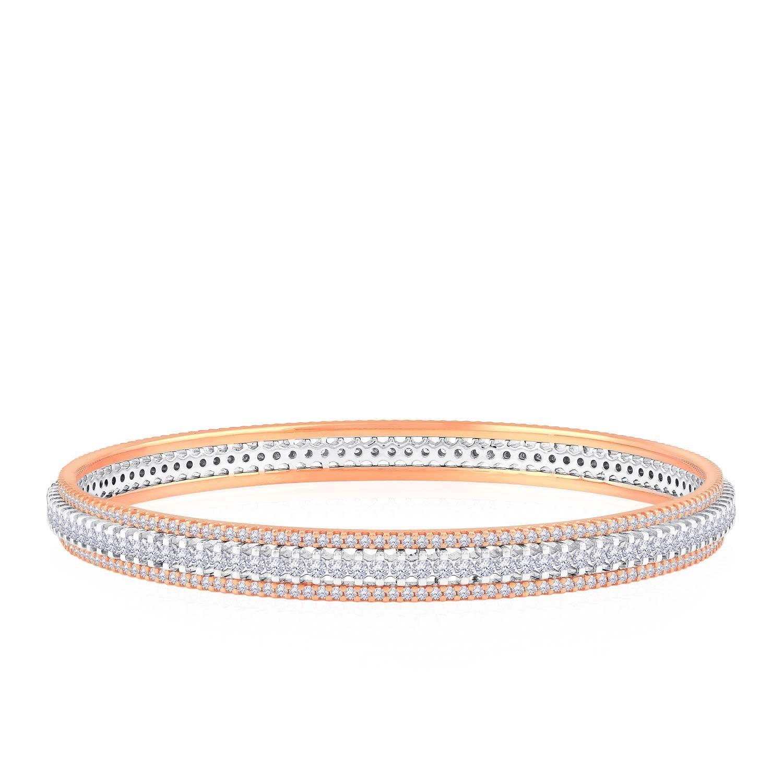 Malabar Gold and Diamonds 18KT Rose Gold and Diamond Bangle for Women