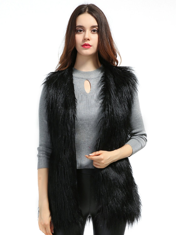 Choies Women's Black Sleeveless Faux Fur Waistcoat Outerwear Vest Coat L