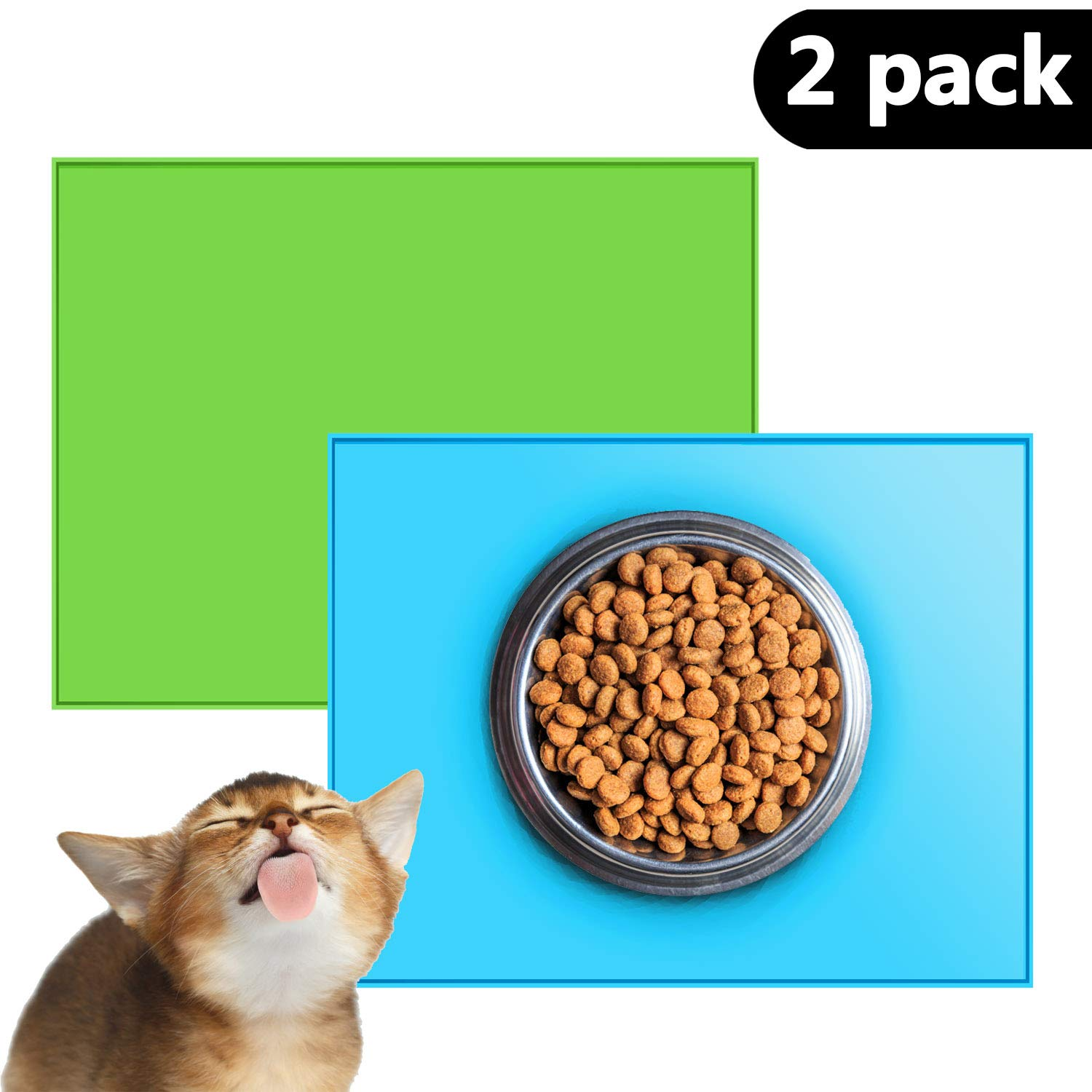 Chol & Vivi Silicone Feeding Mat Waterproof for Dogs Cats, 2 Pack FDA Grade Silicone Mats (12.3'' x 10.2'') Non-Toxic Non-allergenic for Holding Pet' Bowls, Feeder, Drinking Fountains, Blue and Green
