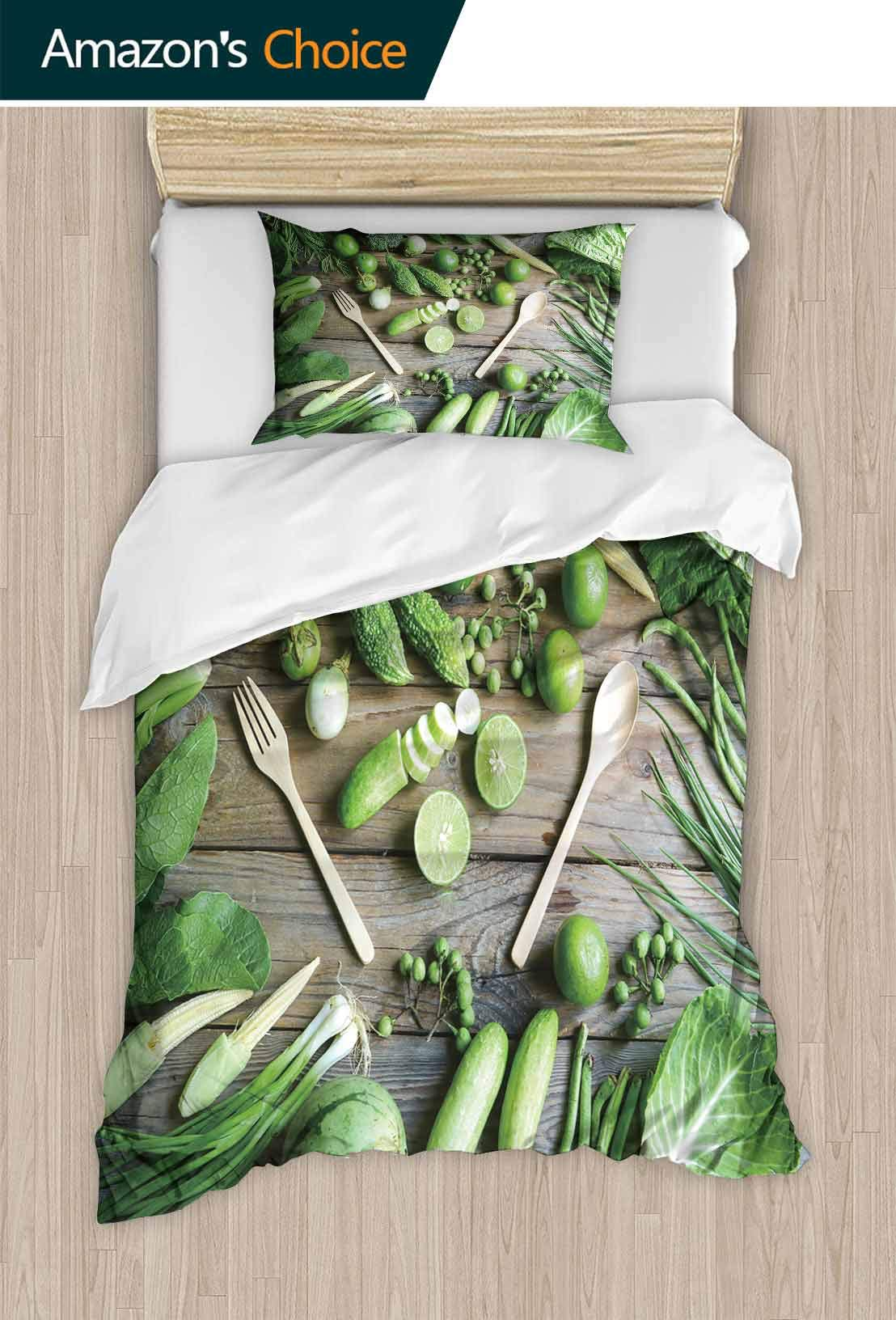 PRUNUSHOME Softest Bedding organicgreen Vegetables Fork Spoon on Wooden Floor Soft and Comfortable California King