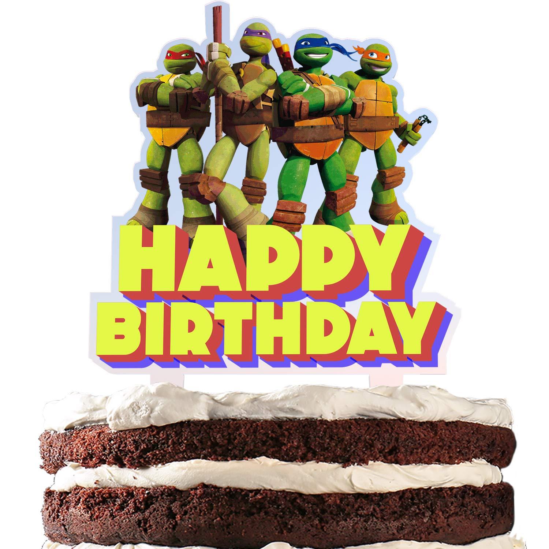 Turtle Cake Topper Happy Birthday Video Game Theme Decor ...
