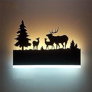 Augrous Applique LED Up et Vers le bas Lampe Murale intérieur Le fer Lumière Corps Cerf Conception pour Bar Couloir Décoration, 12W