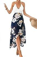 YOINS Women Casual Wrap Front Floral Print Maxi Dress with Lace Details