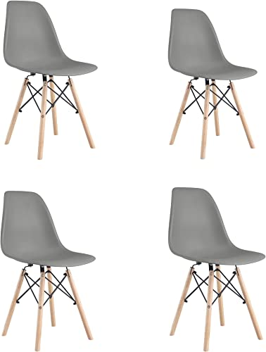 Aaron Living Dining Room Chairs Set of 4 Modern Comfortable Plastic Dining Chairs Gray