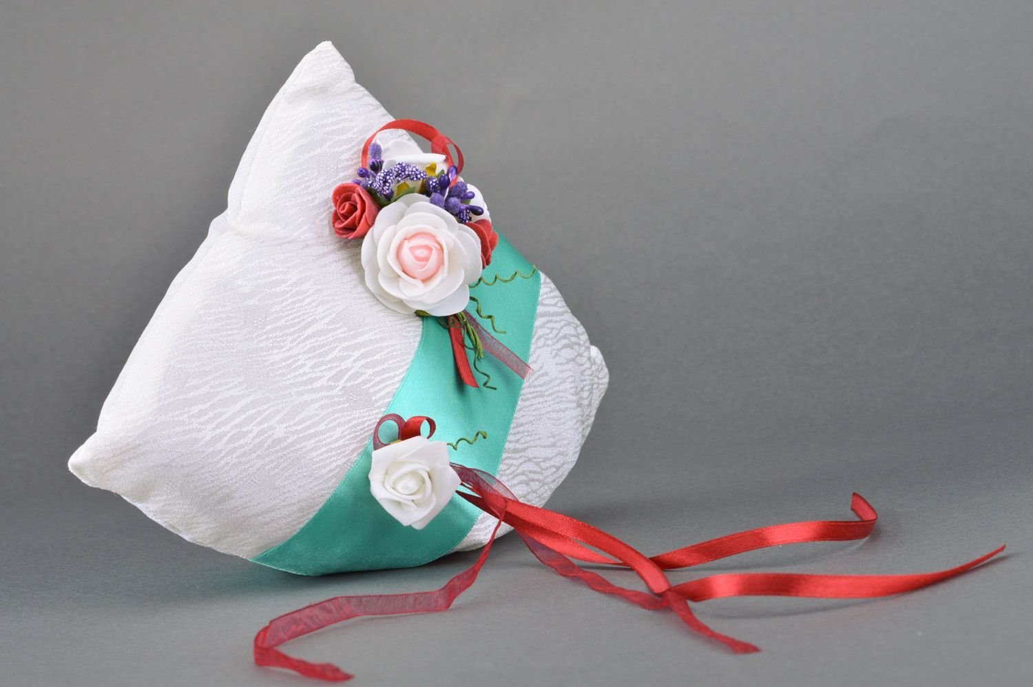 Large Handmade Ring Bearer Pillow Sewn of Satin Fabric with Ribbons and Flowers