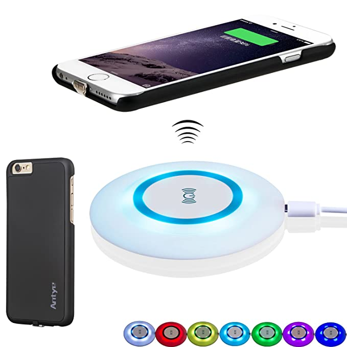 big sale 7359b 2e2c0 Antye Qi Wireless Charger Kit for iPhone 6 Plus/6S Plus - Including Qi  Wireless Charging Pad and Wireless Charging Receiver Case, with  Sleep-Friendly ...
